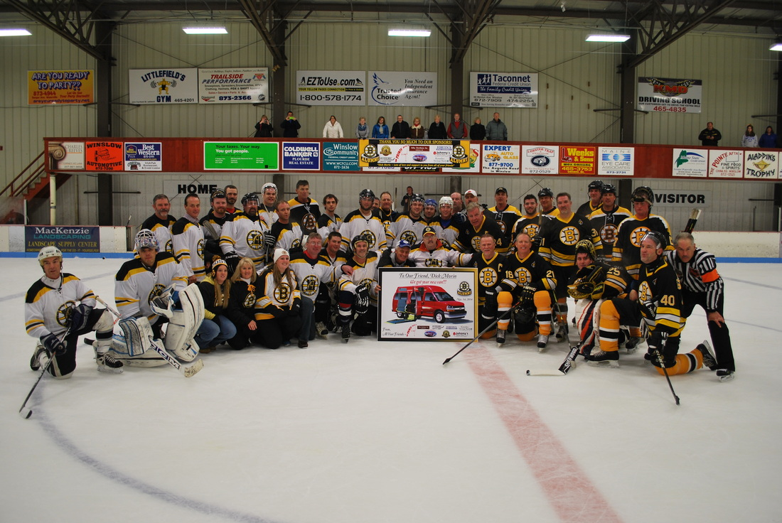 The Bruins Alumni played a game on Sat at Sukee Arena in Winslow Me. to raise money to buy Dick Morin, a disabled vet, a new van.  He's in the team photo in the wheelchair and dropping the puck.